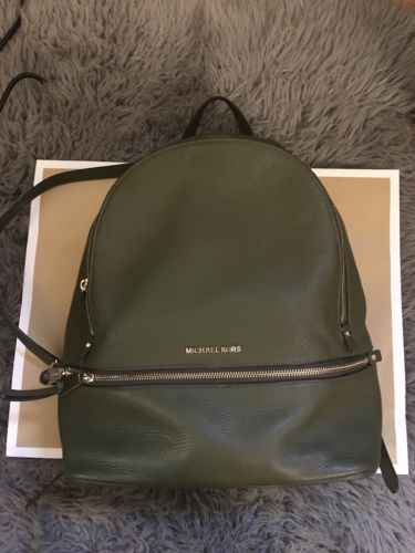677bbd2595bce4 Michael Kors Rhea Large Leather Backpack Olive Green | Designer Women Bags  | Leather Backpack, Backpacks, Leather