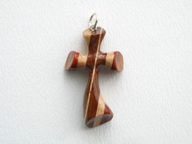 Krzyżyk rzeźbiony z drewna egzotycznego - drewno-ric - Krzyżyki