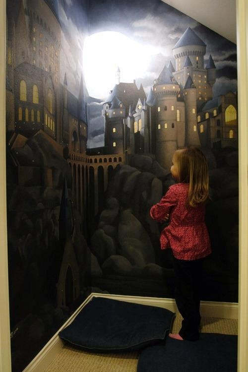 Mural Of Hogwarts In The Cupboard Under The Stairs