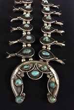 Vintage Turquoise Squash Blossom Necklace - Native American Indian - Navajo