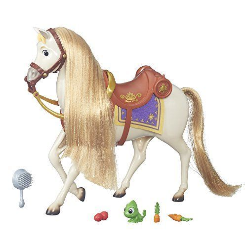 Horse has a long, silky mane and tail Comes with a removable bridle and saddle Includes Pascal, snacks, and a soft blanket