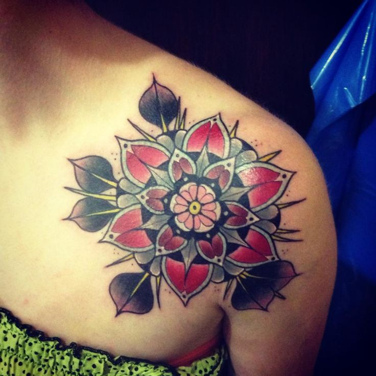 Modern Flower Tattoo - Aivaras Lee http://tattoosflower.com/modern-flower-tattoo-aivaras-lee/