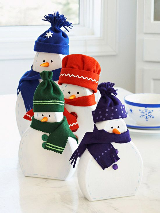 "More wooden snowman crafts - this is BHG - it starts ""What you need: 1. Unfinished wooden snowmen"" Oh, how clever, I'll just pick those up at the store...WTF?"
