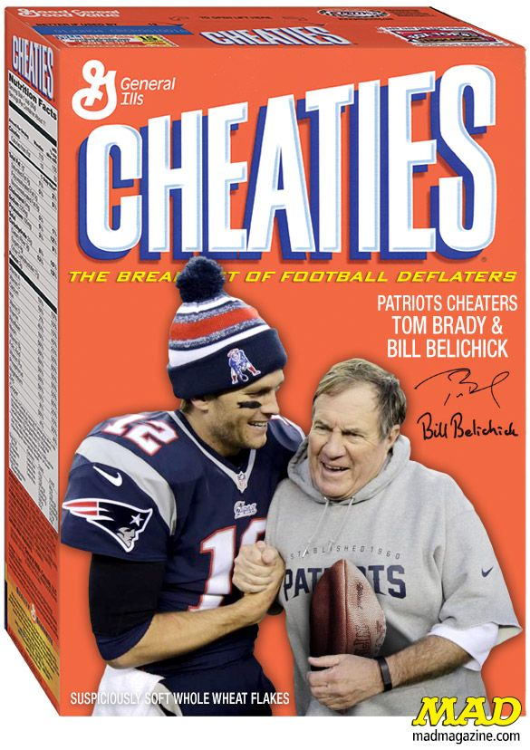 MAD Magazine Tom Brady and Bill Belichick's New Cereal Endorsement Idiotical Originals, Cereal, Sports, Football, NFL, Wheaties, Cheaties, Deflate, New England Patriots, Bill Belichick, Tom Brady, Super Bowl XLIX, Indianapolis Colts, Scandal, Cheating, Jelly vs. Jam: The Reckoning