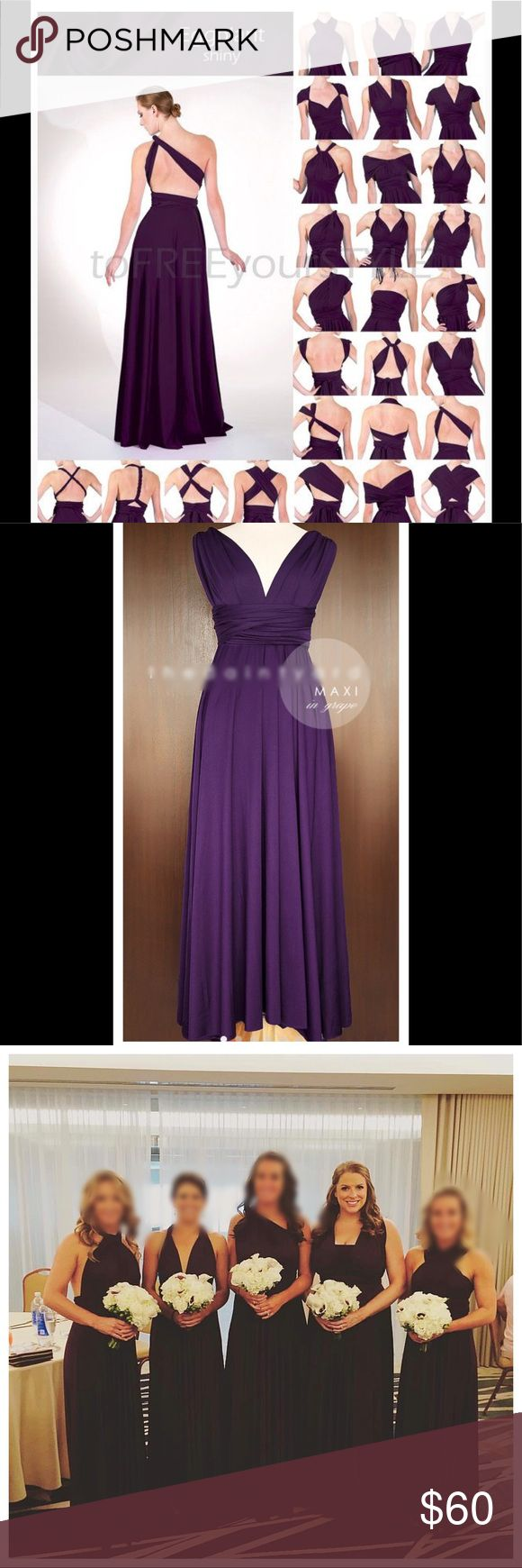 """Purple Infinity Style Maxi Bridesmaid Dress This versatile dress fits many sizes and can be worn in different styles. Perfect for a wedding or other formal event. Comfortable spandex type material with a slight sheen. Comes with complimentary matching bandeau for more coverage! See pictures for styling options! The last two pics are of the actual dress. Worn once.   Elastic waist fits: 35"""" to 48"""". Length measures about 46"""" from waistband to bottom of dress. Would fit a L/XL. The two bands on…"""