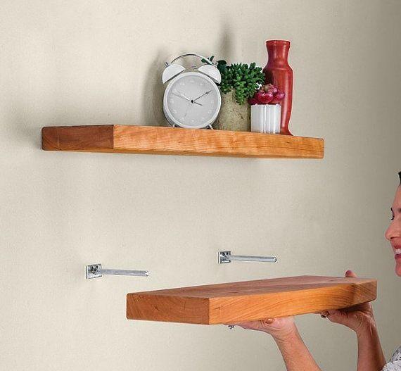 Supports pour industriel floating shelves querres bois for Support pour salle de bain