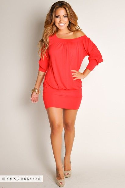 """""""Elena"""" Red Off-the-Shoulder Tunic Dress"""