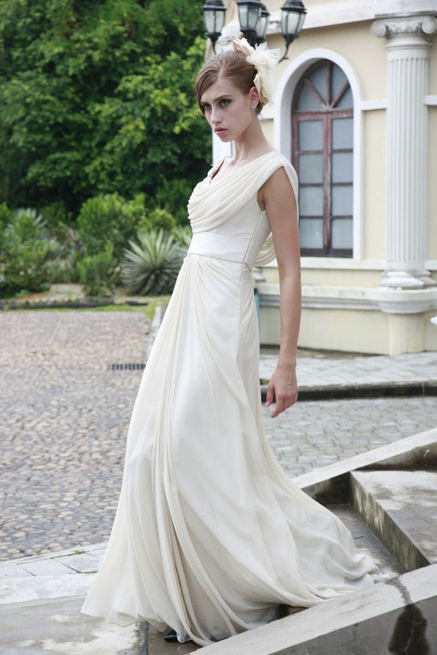 Vintage Ivory Cowl Wedding Dress