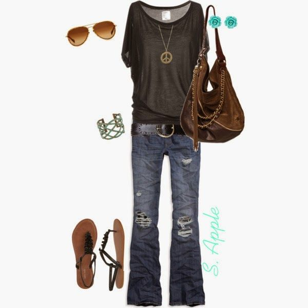 Casual Outfit: Fashion, Casual Outfit, Summer Outfit, Clothing, Peace Signs, Jeans, Necklaces, Casual Looks, My Style