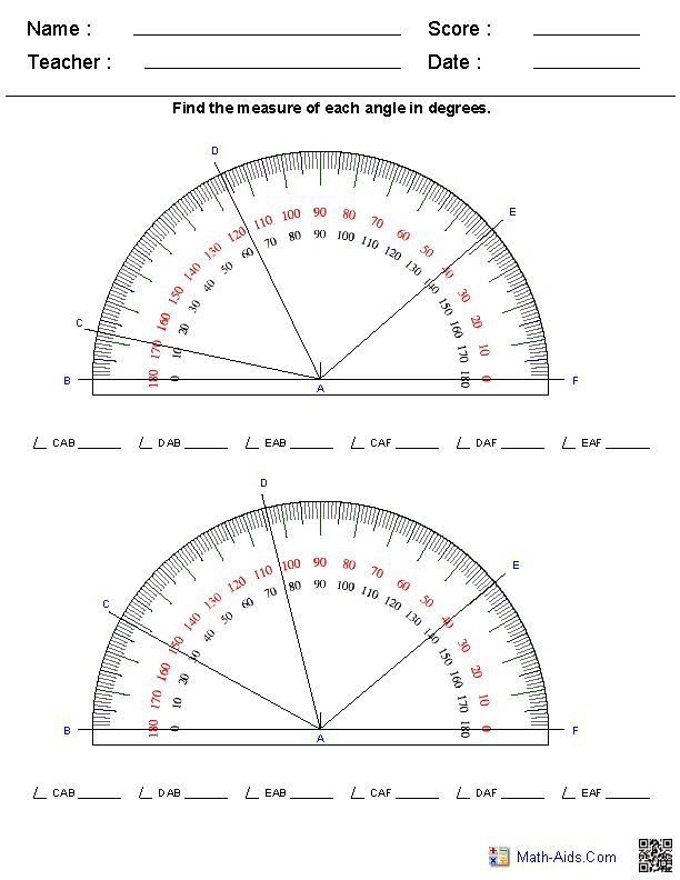 Reading a Protractor Worksheets