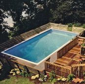 rectangle above ground pool with deep end