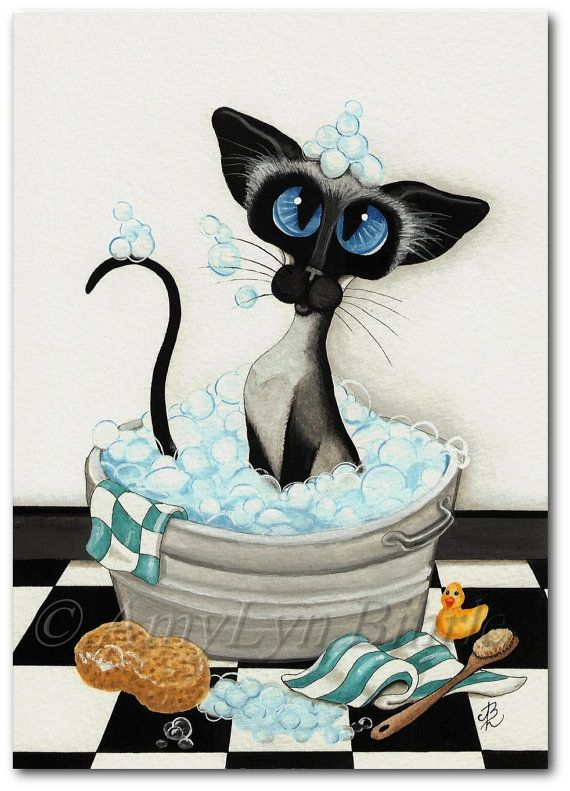 Siamese Cat  Bath Bubbles - Art Prints & ACEOs by Bihrle ck351 Want this for my bathroom. Maybe I will ask for it for Christmas.