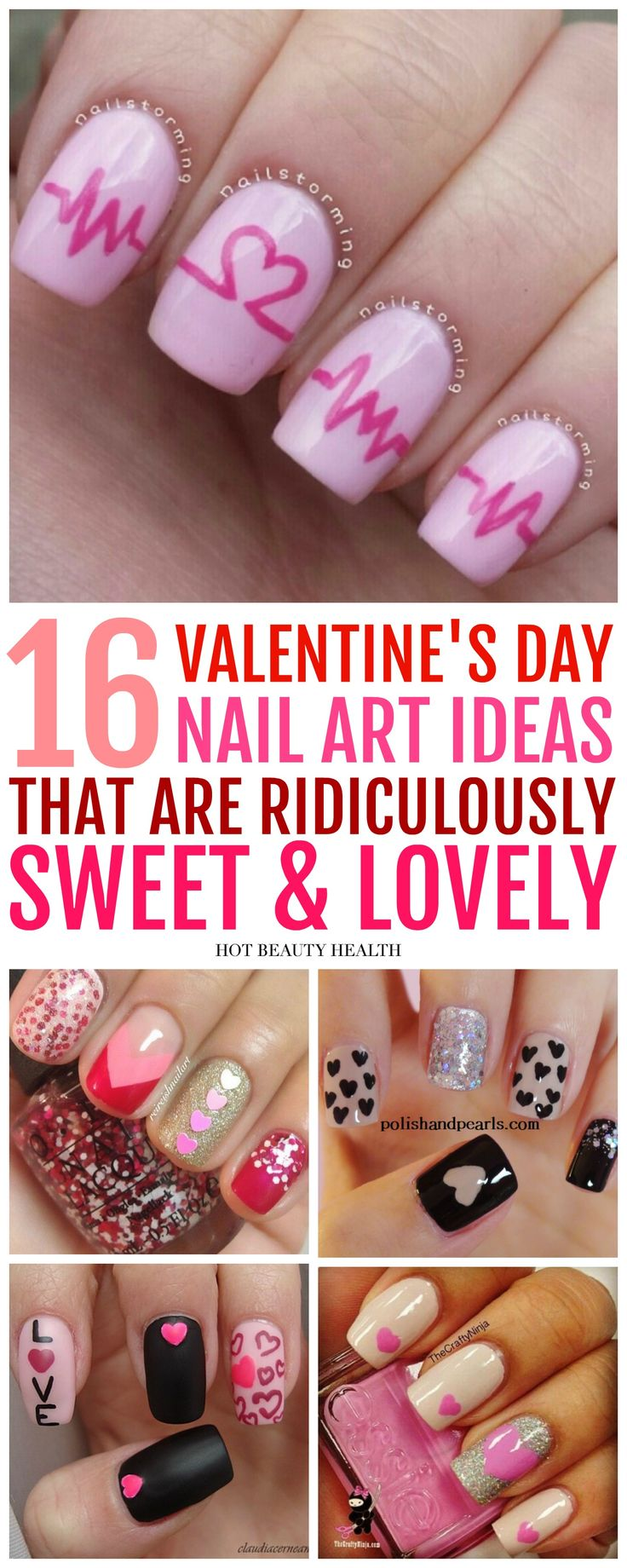 16 easy Valentine's Day nail art ideas that are adorable and fun! Many cute designs with sparkles, stripes, polka dots, valentine heart, and more! Try the traditional red and pink manicures or black & white for something different. Click pin to find a tut