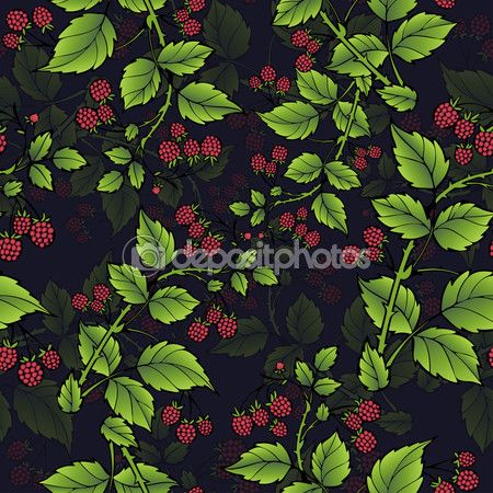 Branches of raspberry seamless pattern, berry background. Drawing fruit, graphic art, cartoon. For the design  the fabric, print, wallpaper, wrapping. Vector illustration — Ilustracja stockowa #124273230