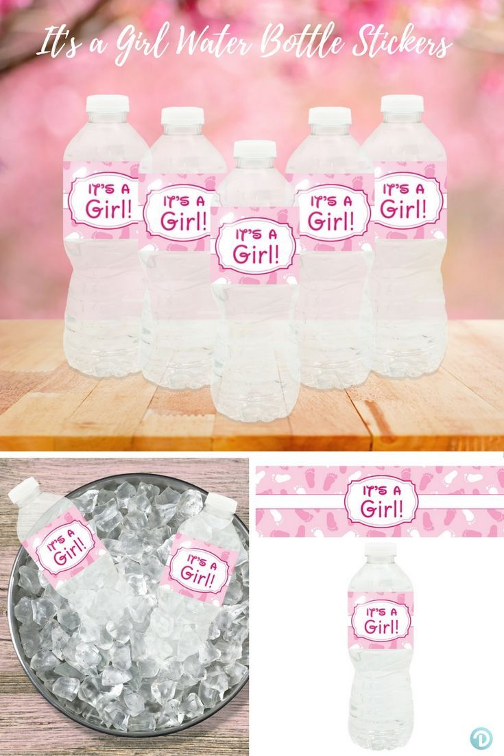 It S A Girl Baby Shower Water Bottle Labels 24 Count In 2018 Baby