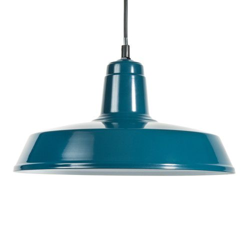 Suspension indus en m tal bleue burbank maisons du monde for Suspension metal cuisine