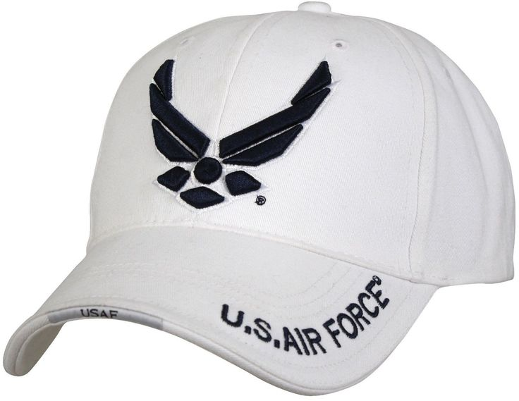 """White Deluxe """"New Wing Air Force"""" - Low Profile Cap - 100% Brushed Cotton twill - Cap Color Is White - Raised Embroidered Blue Logo On Front Panel - """"U.S. Air Force"""" Print On Brim - Sandwich Bill With"""