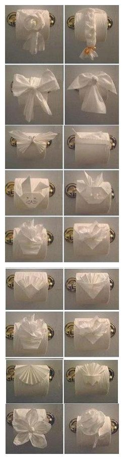 Toilet Paper Origami- because I often run out of things to do before company arrives.