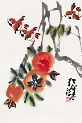 Cui Zifan - POMEGRANATES AND BIRDS; Creation Date: 1987; Medium: ink and color on paper; Dimensions: 26.38 X 17.52 in (67 X 44.5 cm)