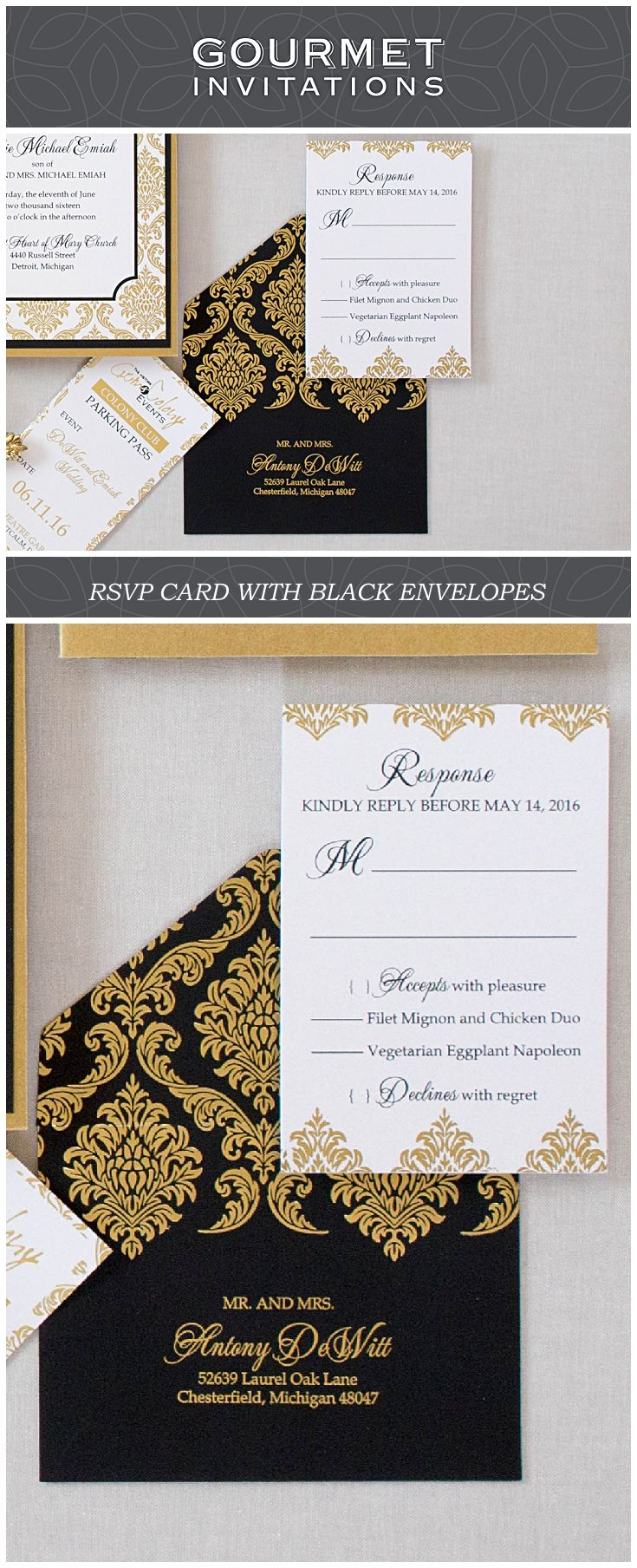 Gold Damask Invitation 64 best RESPONSE CARD
