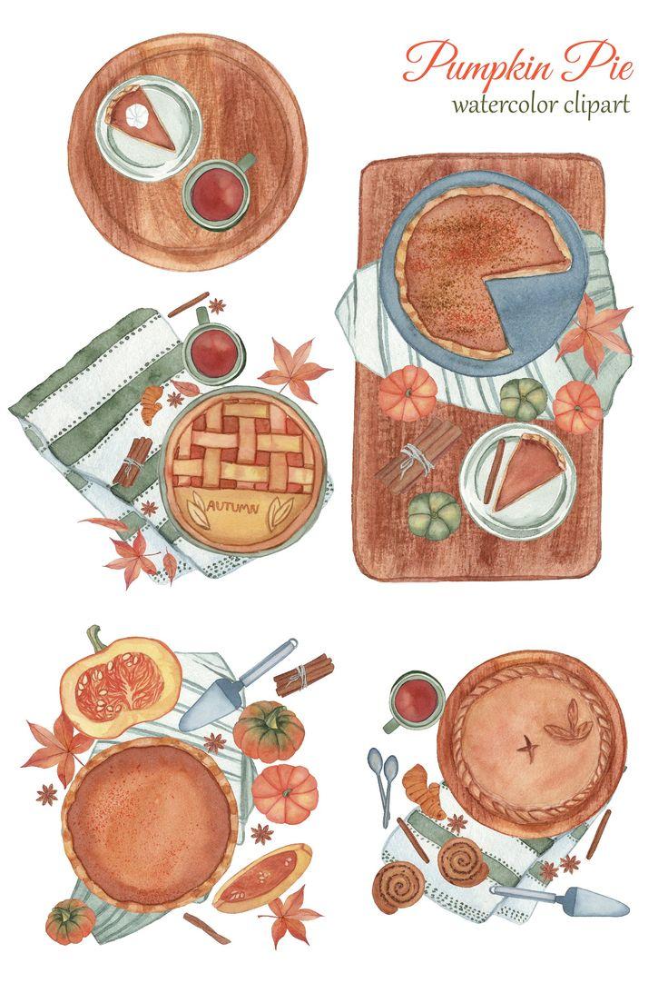 Pumpkin Pie Clipart Watercolor Fall Png Thanksgiving 889285 Illustrations Design Bundles Clip Art Watercolor Pumpkins Watercolor Clipart