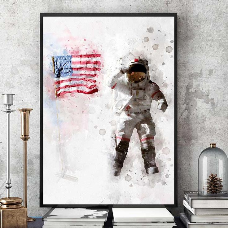 Astronaut And US Flag Poster, NASA Print, Kids Room Astronaut Wall Art, Nasa Decor, Watercolour Space Art, Nursery Decorations (N313) by PointDot on Etsy