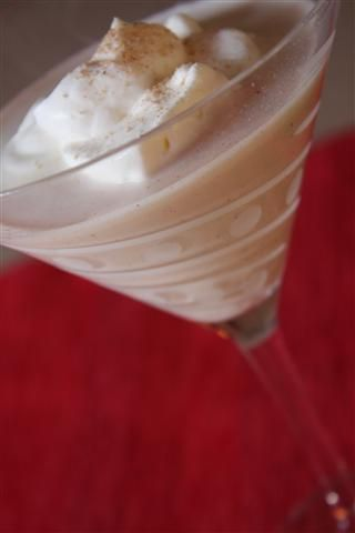 Gingerbread Martini:  1 ounce vodka  1 ounce Baileys Irish Cream liqueur  1/2 ounce Kahlúa liqueur  1/2 ounce gingerbread syrup  1/2 scoop vanilla ice cream — semi-melted  Whipped cream  Combine all ingredients with ice in shaker. Shake until smooth and pour into chilled glass. Top with whipped cream if desired. I grated fresh nutmeg on top too.