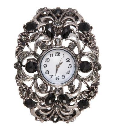 #horloge #bijzonder #zilver #kleurig #grof #apart #zwarte #stenen #strass #ronde #old #look #wijzerplaat Bijzonder zilverkleurig horloge voorzien van zwarte stenen, strass stenen en ronde 'old look' wijzerplaat. www.damestic.nl / www.facebook.com/DamesTic