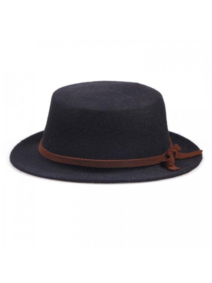 Women s Flat Top Cashmere Bowknot Cap Wool Boater Hat - Black - C611MG6VJ0D  - Hats   Caps 06cf6553f21