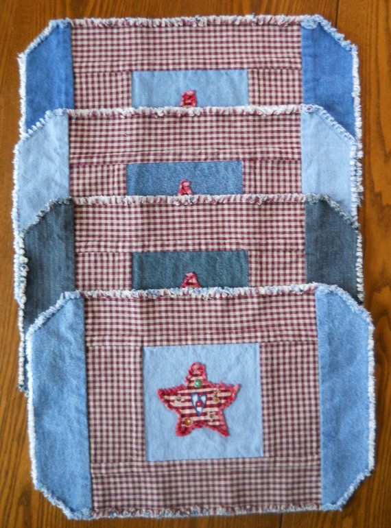 Two in One Recycled Denim Placemats by RevisionsDesigns on Etsy, $20.00