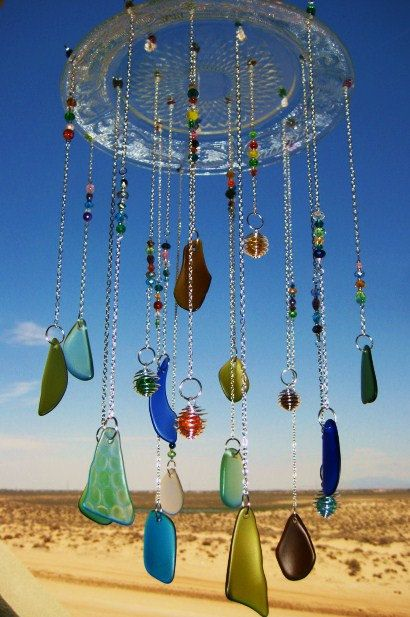 Crystal Plate Beach Glass Windchime With Wire by mexicobeachgirl, $69.00
