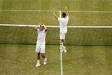 Vasek Pospisil and Jack Sock after winning the Gentlemen's Doubles Championship