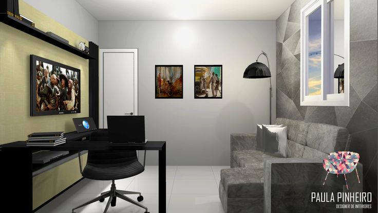Sala De Tv Com Home Office ~ Sala de tv + home office, projeto Paula Pinheiro Renderização