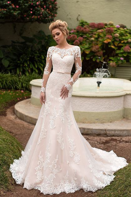 2018 Mermaid Tulle Scoop Long Sleeves Wedding Dresses With Applique And Sash Swe…