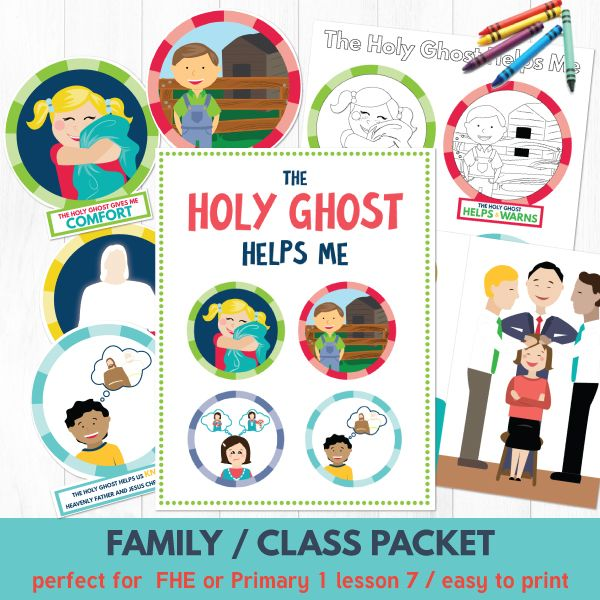 """The Holy Ghost Helps Me""  This printable lesson kit is designed to help you teach young children about the Holy Ghost and how He helps them.  Perfect for Family Home Evening or Sunbeam (Primary 1) lesson 7.  *This product is also part of our Primary 1 (Sunbeams) COMBO package: Lessons 5-8 found HERE.  This lesson will be available in your account on this store immediately after purchase.  Just print and go!  Included in this kit are all of the following:  1.  LESSON TITLE PRINT:  Use this…"