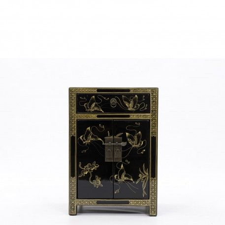 Decorated Black Cabinet | Elm Bedside Table | Orchid - going to use this as a living room lamp table. gorgeous - bought from Orchid