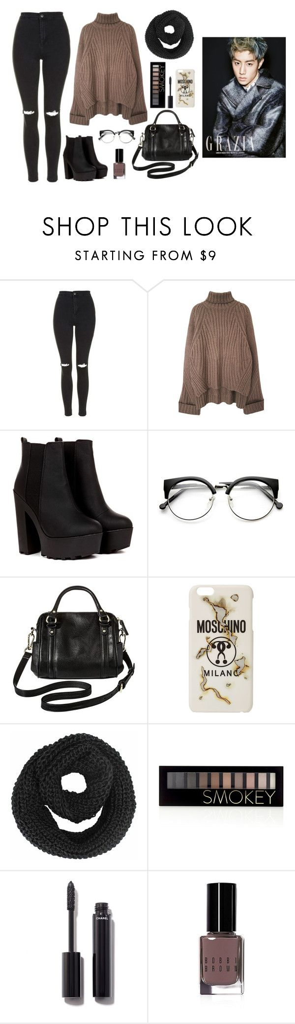 """Mark's ideal type (winter)"" by got7outfits ❤ liked on Polyvore featuring Topshop, Merona, Moschino, Forever 21, Chanel and Bobbi Brown Cosmetics"