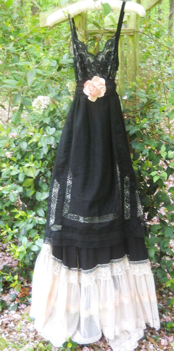 Black maxi dress lace silk  goth tiered cream steampunk   boho  rose romantic medium  by vintage opulence on Etsy