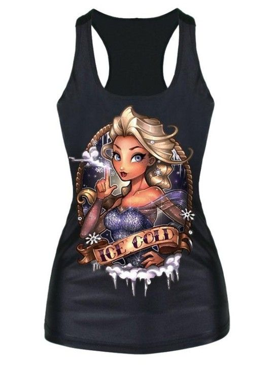 NEW Summer Fashion Women's Gothic Punk Skull Monroe Print Tank Top Blouse Shirts_trq
