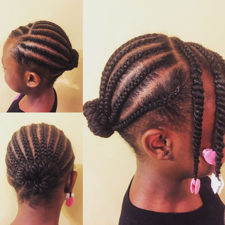 Cornrows, twists and bun by The Hair Geek with white and pink Sweet Pea and Little Lady GaBBY Bows! Ready for keynote speech and dance recitals!