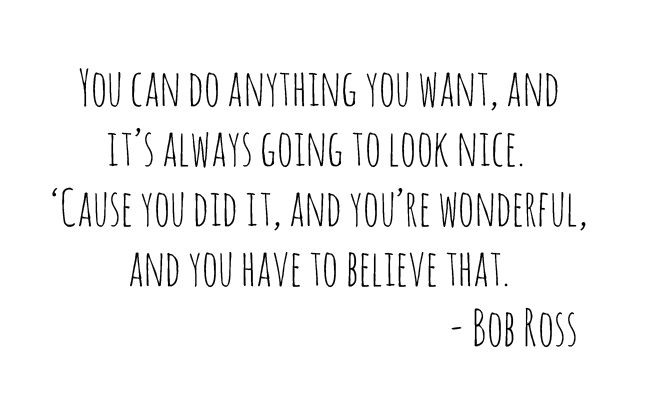 Bob Ross- ugh such a sweet sweet man!  Unless you make a sunset.. That looks like a volcano....@Jessica Roach☀