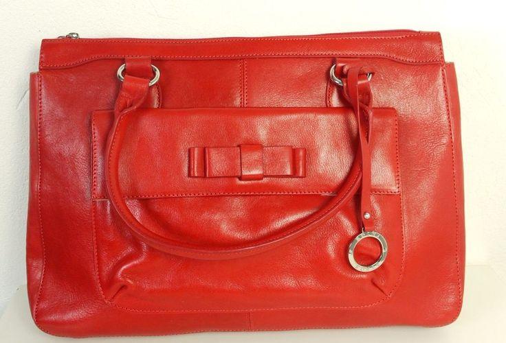 EDINA RONAY Shopper Tasche Handtasche XL Rot Echtleder Bag (H139)