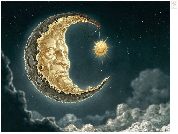 """Moon and Sun by *Papierpilot Digital Art  """"Since the Moon is the strongest symbol for romantic longing and as a character a lifelong fascination of mine, I thought I come up with something like this. I took a lot of planning on it, especially how moon's face is carved out of the rocks.  It's the old tragedy, being nothing without your counterpart but never being able to really reach him or her. I hope it looks a little bit lonely ..."""""""