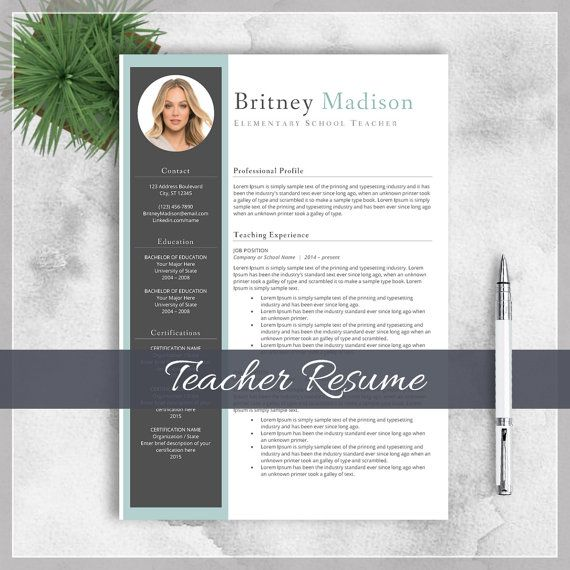 Teacher Resume Template CV Template for MS by cvtemplatesbydesign