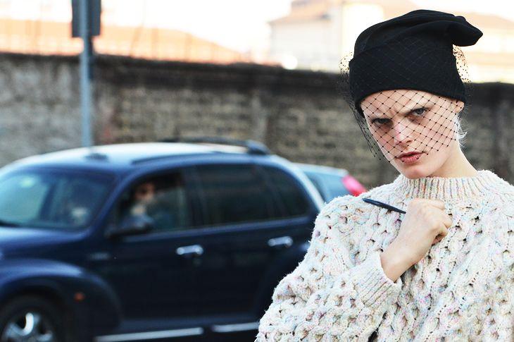 Jil Sander Beanie w/mesh veil: Cozy Cable, Mimosas Lane, Fashion Weeks, Street Style, Winter Wear, Jil Sander, He Gabi, Guest Posts, Cable Knits