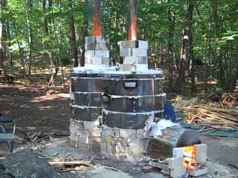 Mad Max Kiln, a 2-chambered wood-fired kiln built from 3 discarded electric kilns by Barbara J Allen, CT wood fire soda part 1.m4v - YouTube