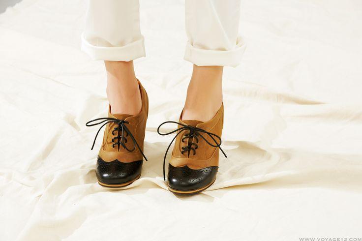 VOYAGE XII voyage twelve #wedge shoes #oxford wedge