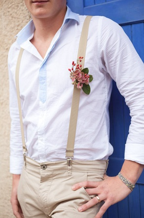 Suspenders with boutonniere