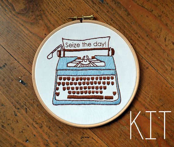 Embroidery Kit Retro Typewriter Seize the day by RosiesRagsCrafts, €15.00
