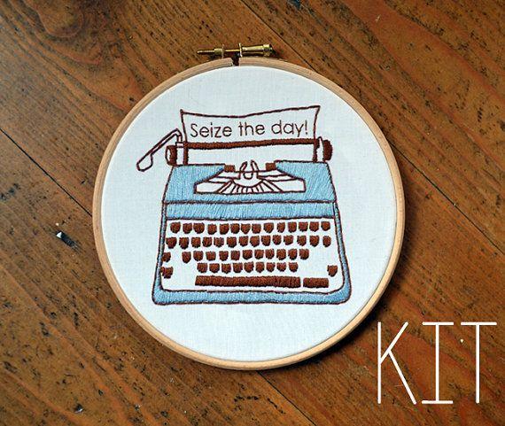 """Embroidery Kit """"Retro Typewriter: Seize the day"""""""